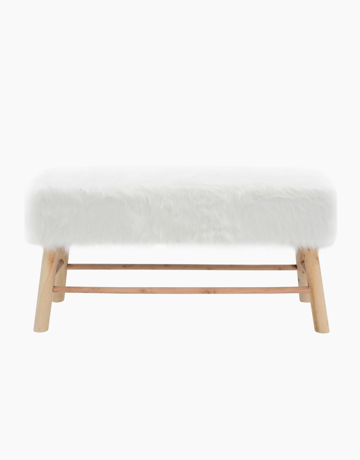 Banc Lasco en fourrure synthétique blanche - Mobilier design, luminaire  design et décoration pour vos intérieurs