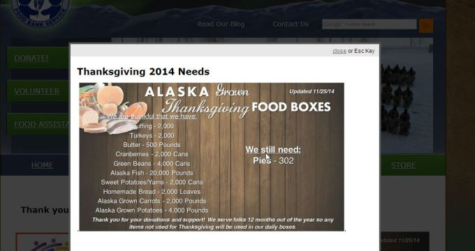 Food Bank website popup window alerts visitors of current needs