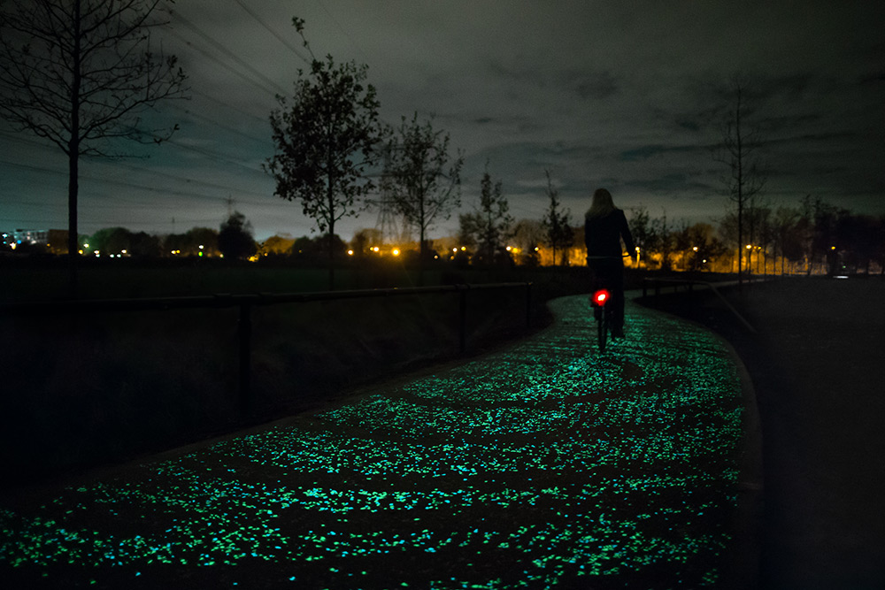 Dutch town creates glow in the dark bike lanes