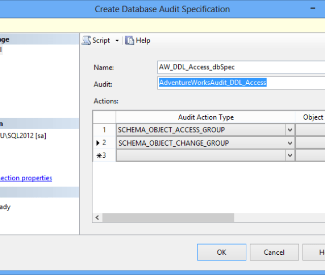 Create Database Audit Specification Dialog In Ssms