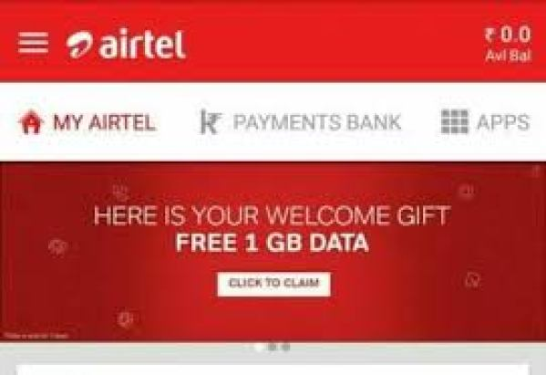My Airtel App Welcome offer - Get 1 GB Free 3G/ 4G Data on Download airtel app