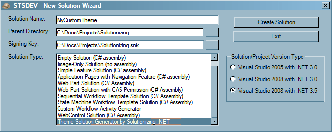 STS Theme Generator - Create Solution