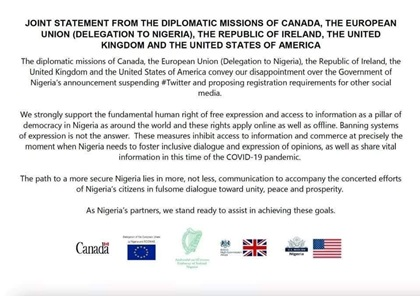 United States European Union Condemn Nigeria Government Twitter Ban