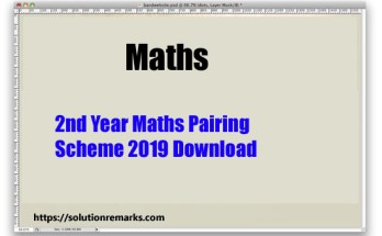 2nd Year Maths Pairing Scheme 2019 Download
