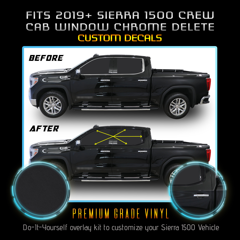 Fits 19 Gmc Sierra 1500 Crew Cab Window Chrome Delete Blackout Kit Matte Black Ebay