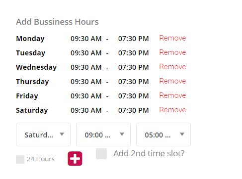 BUSSINESS HOURS AT SS