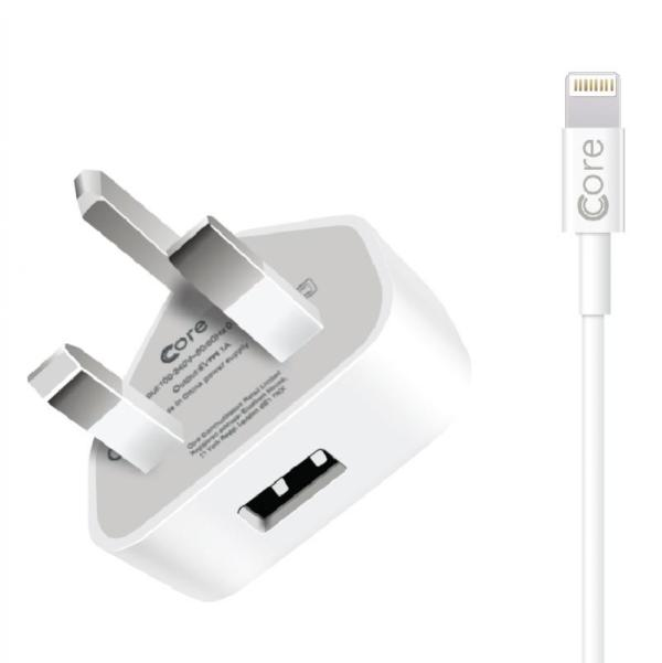 Charger iPhone iPad Lightning 1A Core White
