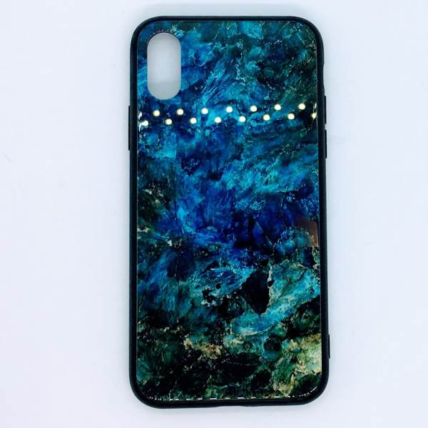 iPhone X, XS tempered glass case marble blue