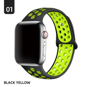 Watch Strap Silicone Apple watch 38mm 40mm S M Black Lime Green Phones rescue
