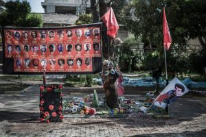 32 SDGH (socialist revolutionist young movement) members died after the terror attack by bomb explosion in Amara Cultural Center's garden in Suruc on 20 July.  Group of peoples were planning to carry humanitarian aid to Kobane before the explosion. Suruc, TURKEY 29 July 2015