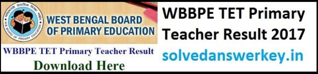 WBBPE TET Primary Teacher Result 2017 PDF