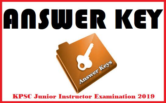 KPSC Junior Instructor Examination 2019