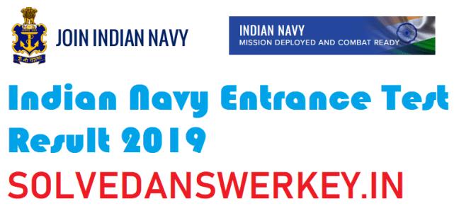 Indian Navy Entrance Test Result 2019