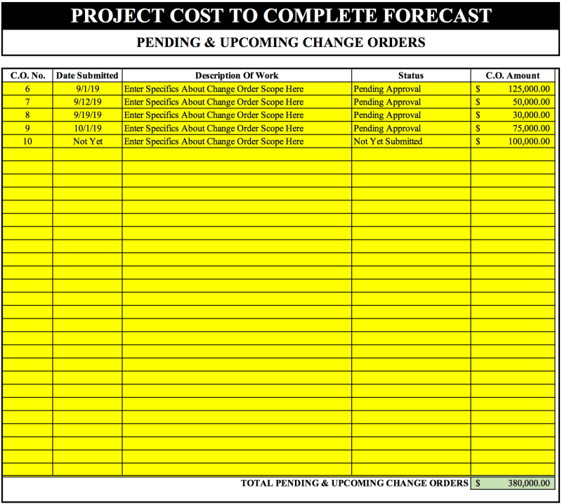 Cost To Complete Template Free Excel Download Etc Eac Bac