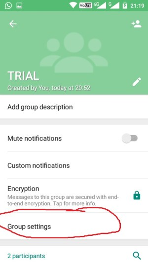 Whatsapp Group Setting