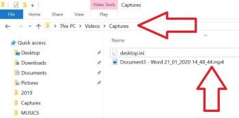 Screen Recording in Windows 10 Result