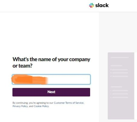 Create Slack Workspace-Enter Company Name
