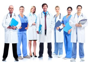 Male and female doctors in a line.