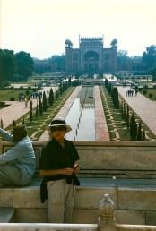 The Taj entrance gate behind Diana