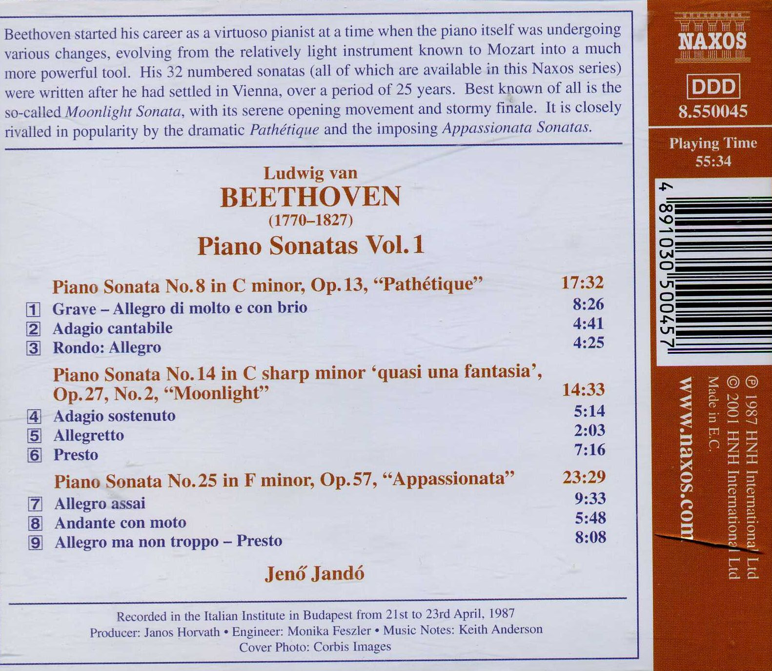 Beethoven Piano Sonatas -  Pathetique   Moonlight   Appassionata  - Jeno Jando_back