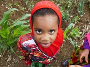 Portrait of a Somali Bantu girl at Liberation Farms