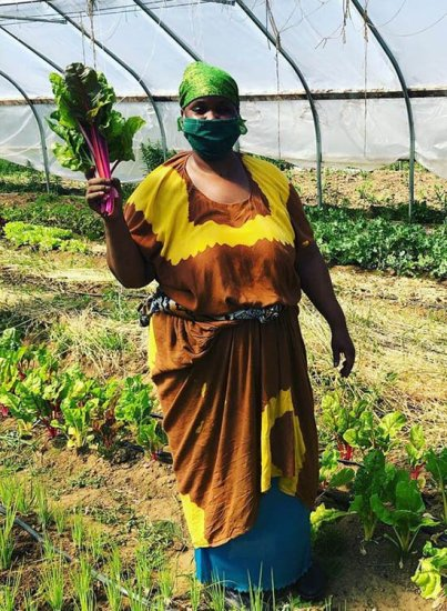 Gamana holding freshly picked chard at Liberation Farms