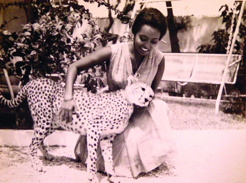 Edna Adan Ismail with her pet leopard in 1968 (Photo: supplied)