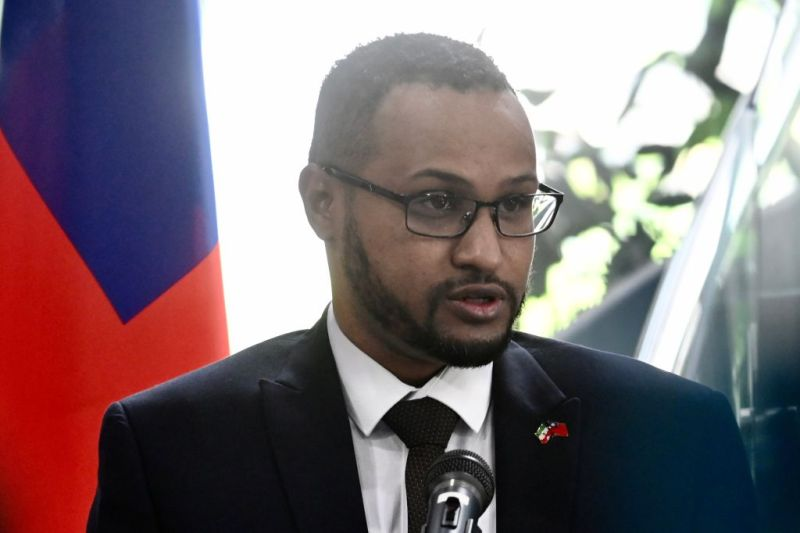 Mohamed Hagi, Somaliland's Taiwan representative, speaks during the opening ceremony of the Somaliland representative office in Taipei on September 9, 2020. (Photo by Sam Yeh / AFP) (Photo by SAM YEH/AFP via Getty Images)