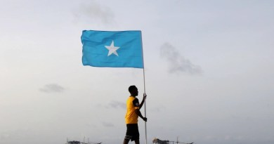 A Somali youth holds the national flag, at Lido beach, Mogadishu's Abdiaziz District. Somalia has set up a national payments system as the country is struggling to rebuild after 20 years of civil war and is still battling an insurgency by al-Shabab