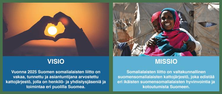 Suomen somalialaisten liiton visio ja missio.