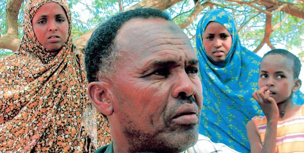 Mohammed Noor Haji and his family at the camp