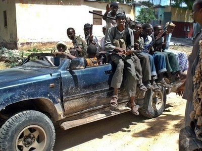 Islamist fighters ride