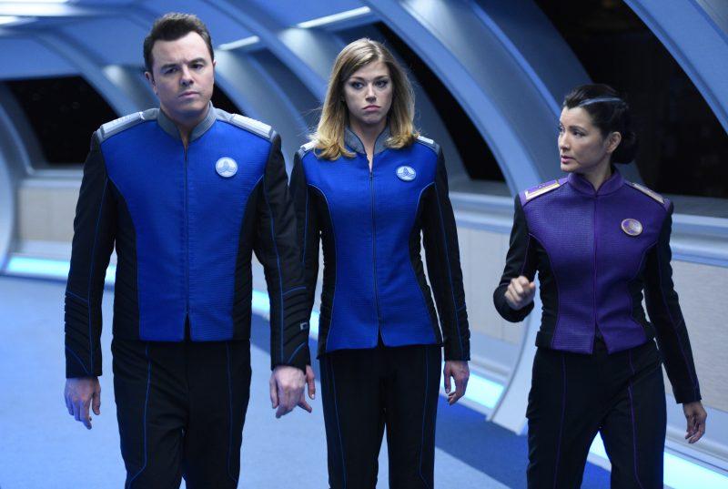 The Orville 106 - Krill - Ed (Seth MacFarlane), Kelly (Adrianne Palicki), and Admiral Ozawa (Kelly Hu)