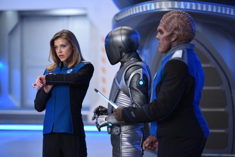 The Orville 106 - Krill - Kelly (Adrianne Palicki), Bortus (Peter Macon), and Isaac (Mark Jackson)
