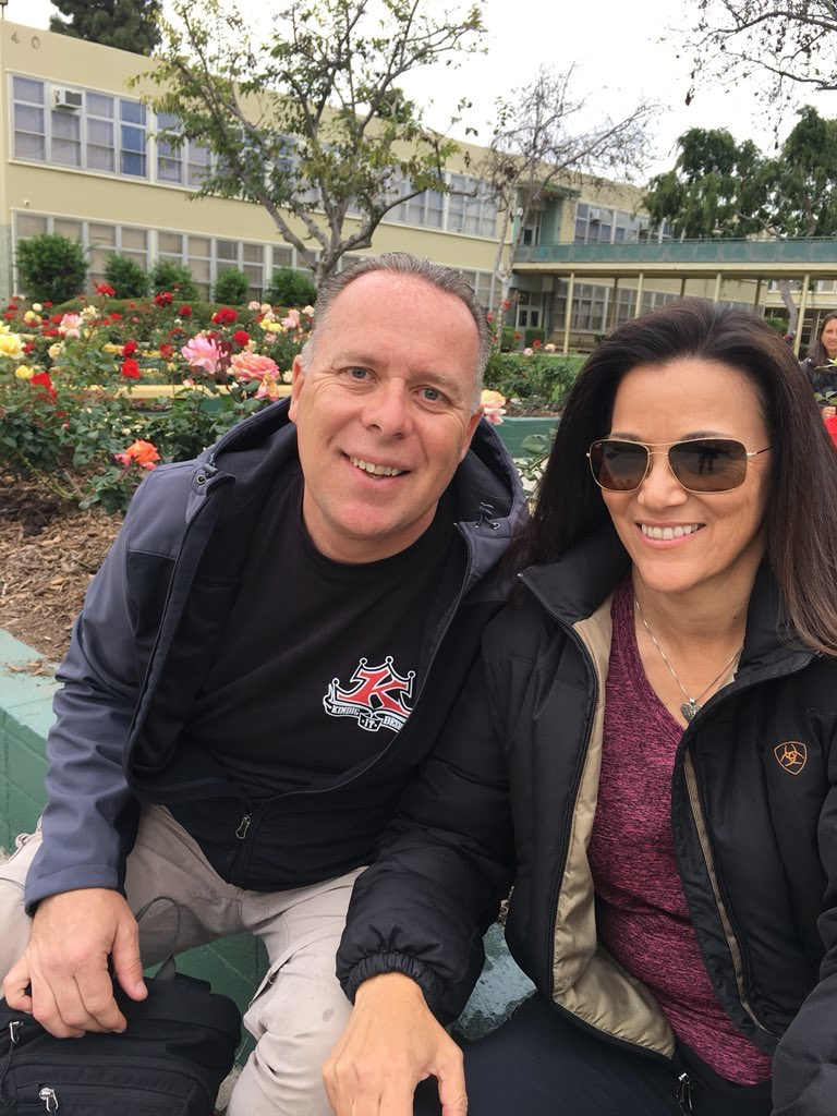 Tim Marcia and Mitzi Roberts on the set of Bosch on Amazon Prime