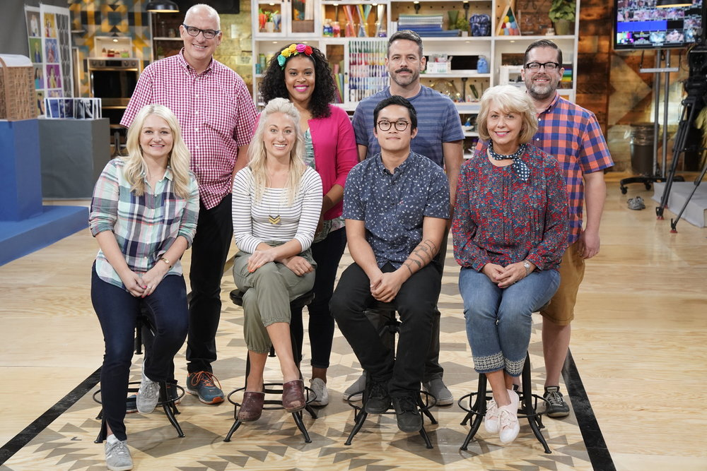 "MAKING IT -- ""You Crafty"" Episode 101 -- Pictured: (clockwise) Jeff, Amber, Billy, Robert, Jemma. Khiem, Nicole, Jo -- (Photo by: Paul Drinkwater/NBC)"