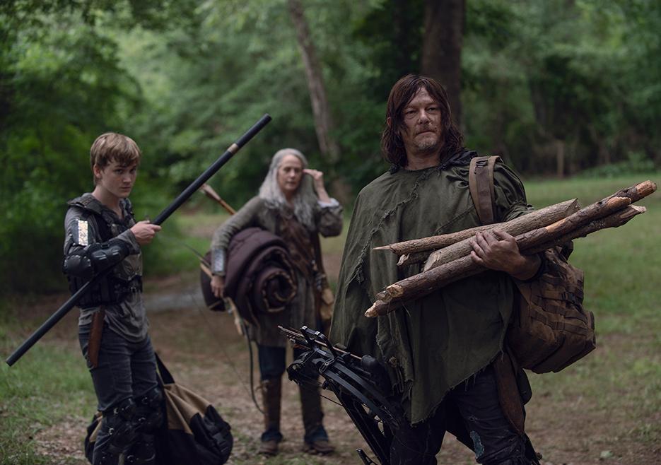 Henry (Matt Lintz), Carol Peletier (Melissa McBride) and Daryl Dixon (Norman Reedus) in Episode 7 The Walking Dead season 9 Photo credit: Gene Page/AMC
