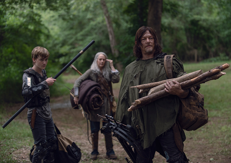 Henry (Matt Lintz), Carol Peletier (Melissa McBride) and Daryl Dixon (Norman Reedus) in Episode 7 The Walking Dead season 9 Photo credit: Gene Page/AMC