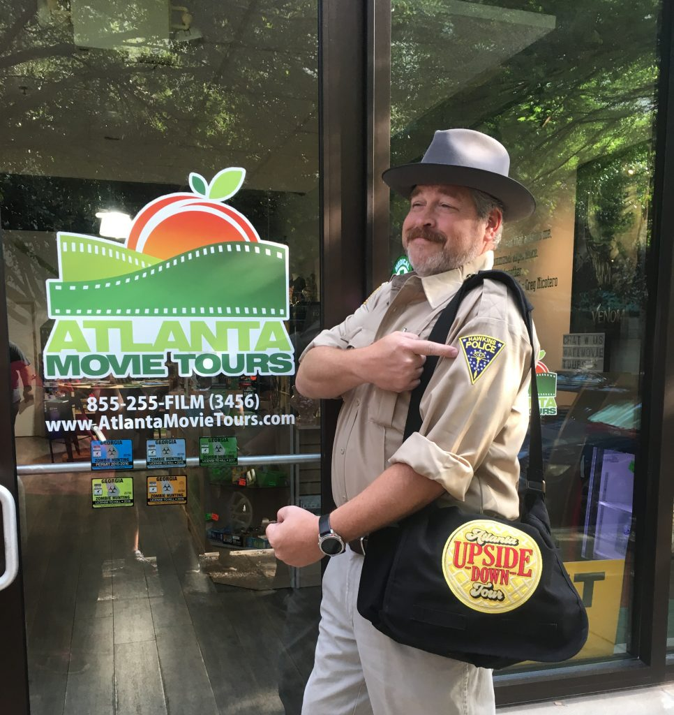 Atlanta Movie Tours guide Colin Cary on the Atlanta Upside Down Tour featuring locations from Stranger Things photo credit: Tracey Phillipps