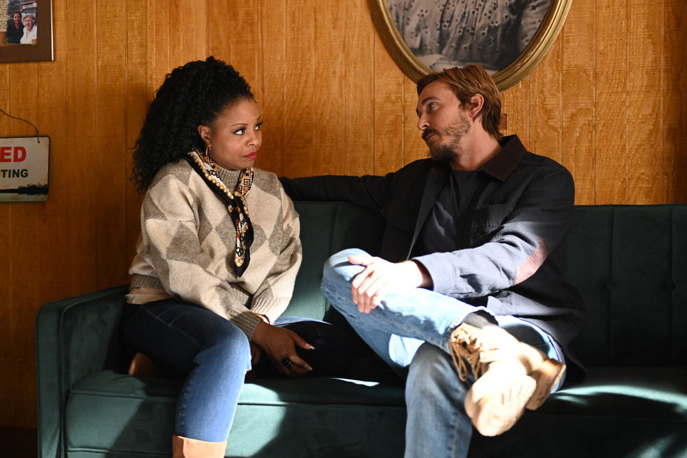 """PERFECT HARMONY -- """"Know When to Walk Away"""" Episode 111 -- Pictured: (l-r) Tymberlee Hill as Adams Adams, Steve Talley as Karl -- (Photo by: Mitchell Haddad/NBC)"""