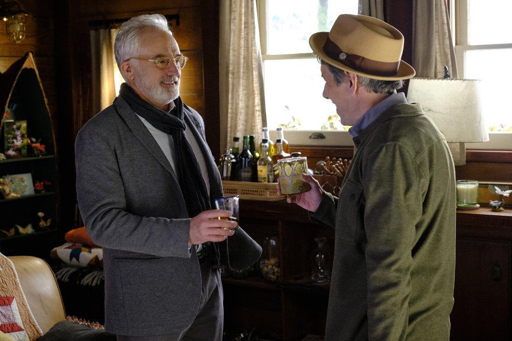 "PERFECT HARMONY - ""Hymn-A-Thon"" Episode 112 -- Pictured: (l-r) Bradley Whitford as Arthur, John Ross Bowie as Tate Harrington -- (Photo by: Trae Patton/NBC)"