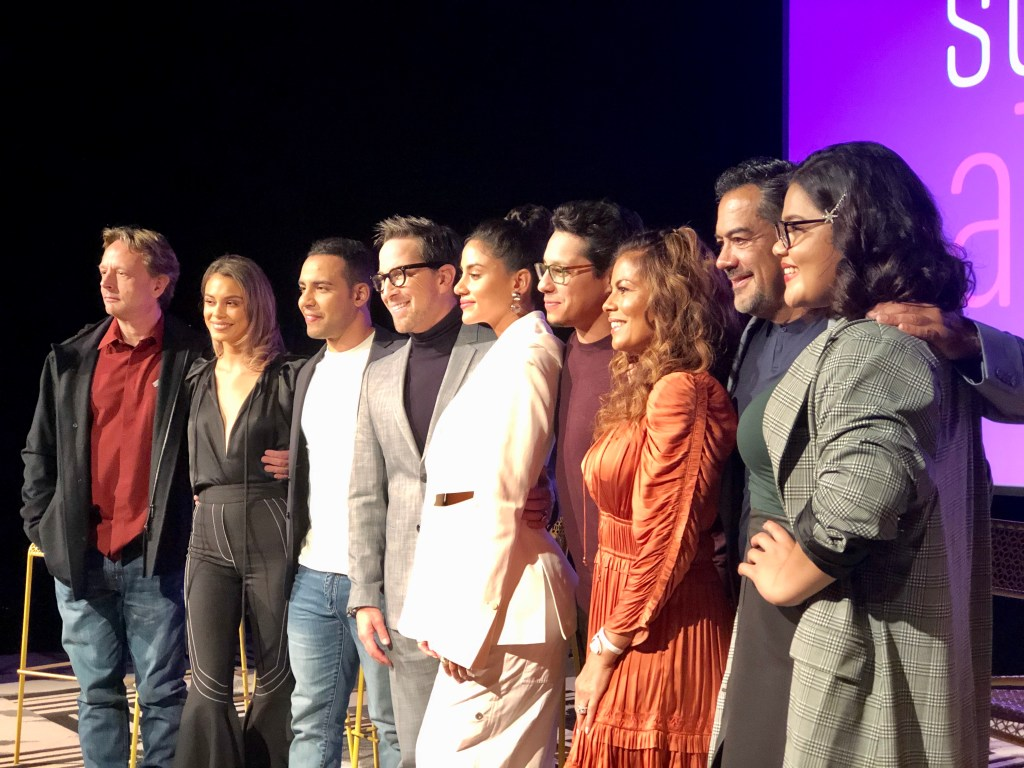 EP Dean Georgaris with The Baker and The Beauty cast. Nathalie Kelley, Victor Rasuk, Dan Bucatinsky, Michelle Veintimilla, David Del Rio, Lisa Vidal, Carlos Gómez and Belissa Escobedo photo credit: Tracey Phillipps/So Many Shows
