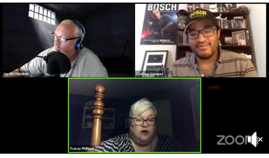 Everybody Counts Podcasts, co-hosts Jay and Tracey with Bosch writer Osokwe Vasquez