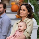 "COUNCIL OF DADS -- ""Tradition"" Episode 105 -- Pictured: (l-r) Clive Standen as Anthony Lavelle, Baby Hope, Sarah Wayne Callies as Robin Perry -- (Photo by: Seth F. Johnson/NBC)"