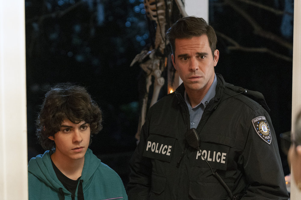 Episode 105 -- Pictured: (l-r) Emjay Anthony as Theo Perry, David Walton as Sam -- (Photo by: Seth F. Johnson/NBC)