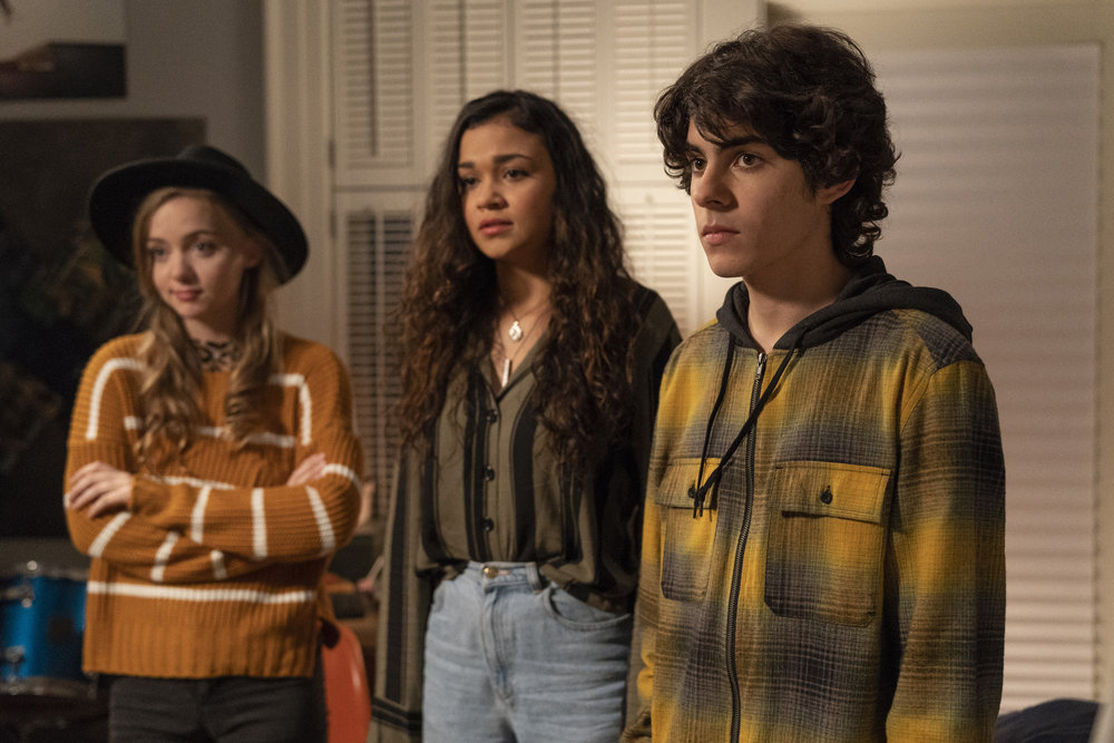 """COUNCIL OF DADS -- """"Tradition"""" Episode 105 -- Pictured: (l-r) Maddie Nichols as Freya, Madison Bailey as Jules, Emjay Anthony as Theo Perry -- (Photo by: Seth F. Johnson/NBC)"""