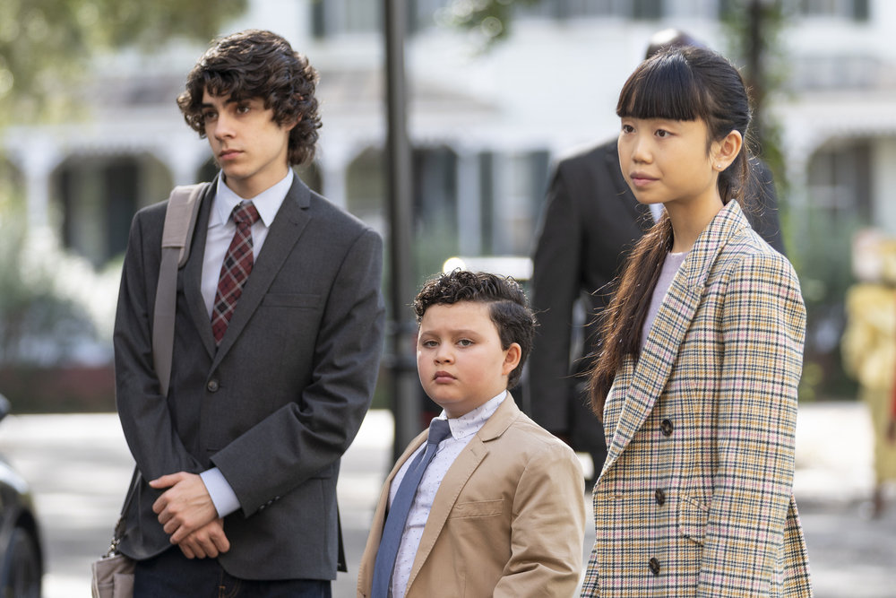 """COUNCIL OF DADS -- """"The Best Laid Plans"""" Episode 107 -- Pictured: (l-r) Emjay Anthony as Theo Perry, Blue Chapman as JJ Perry, Thalia Tran as Charlotte Perry -- (Photo by: Seth F. Johnson/NBC)"""