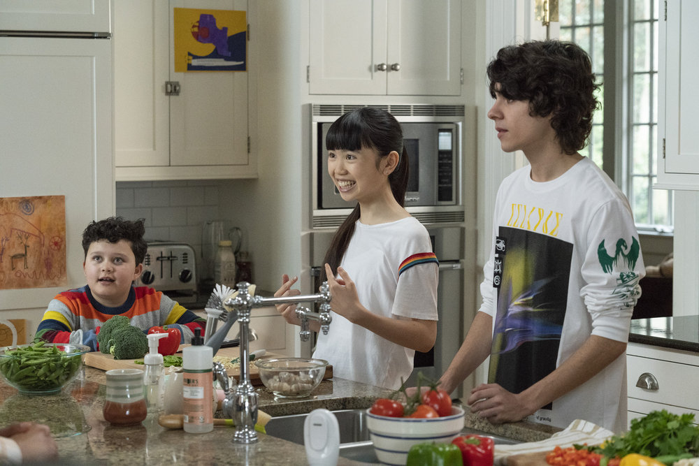"COUNCIL OF DADS -- ""Dear Dad"" Episode 108 -- Pictured: (l-r) Blue Chapman as JJ Perry, Thalia Tran as Charlotte Perry, Emjay Anthony as Theo Perry -- (Photo by: Seth F. Johnson/NBC)"