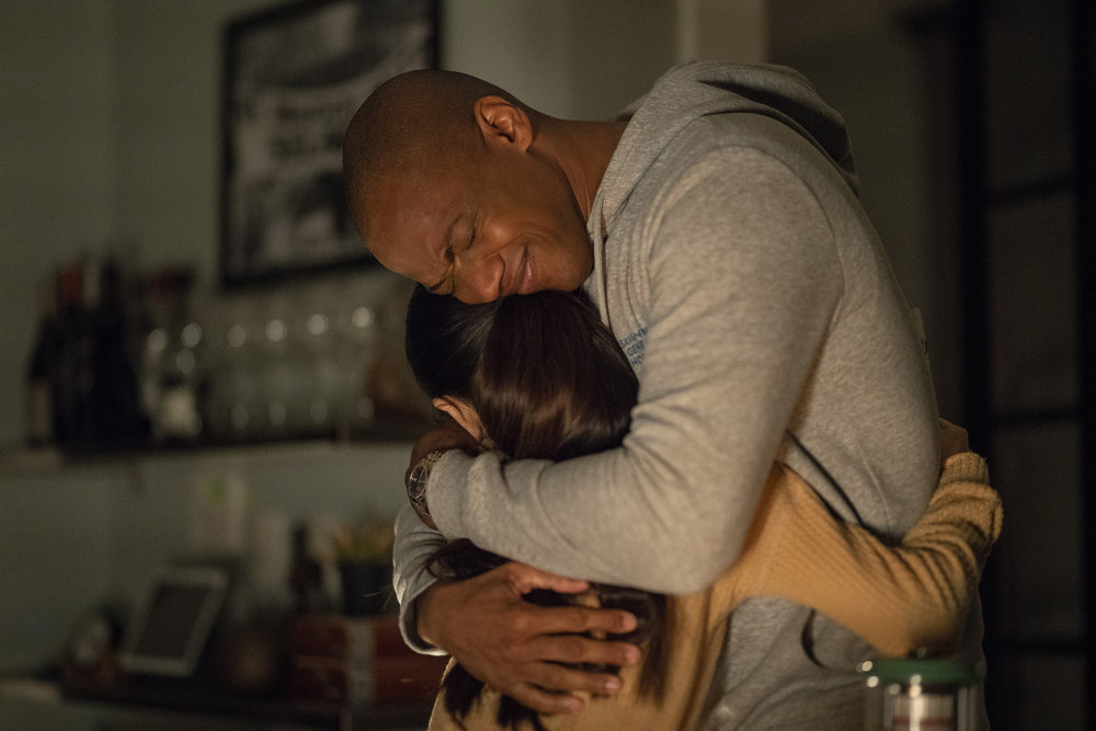 """COUNCIL OF DADS -- """"Stormy Weather"""" Episode 109 -- Pictured: (l-r) Thalia Tran as Charlotte Perry, J. August Richards as Dr. Oliver Post -- (Photo by: Seth F. Johnson/NBC)"""
