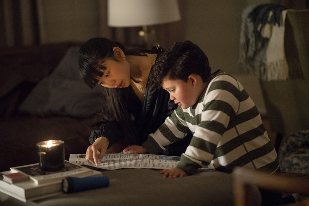 "COUNCIL OF DADS -- ""Stormy Weather"" Episode 109 -- Pictured: (l-r) Thalia Tran as Charlotte Perry, Blue Chapman as JJ Perry -- (Photo by: Seth F. Johnson/NBC)"